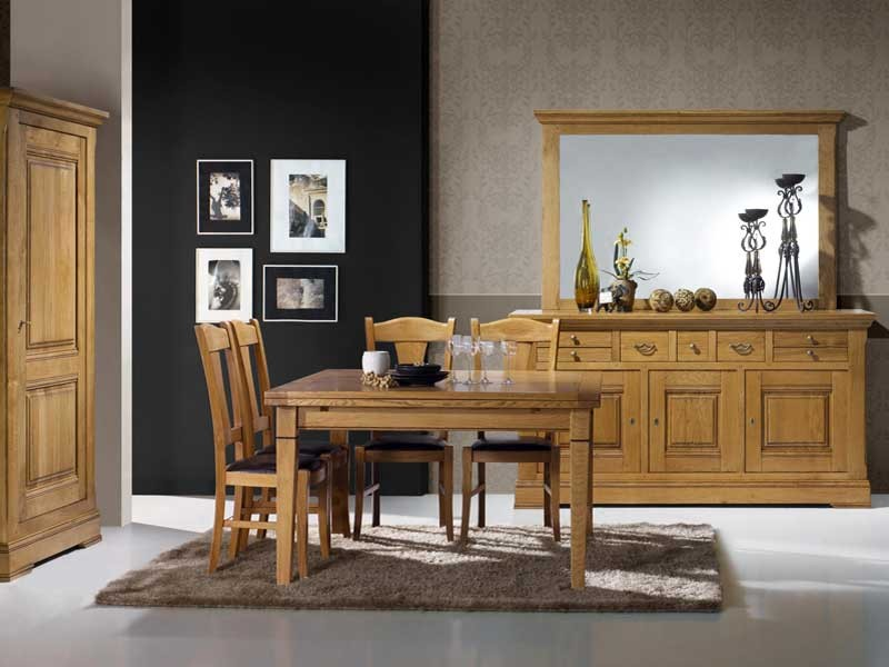 table manger carr e rustique en ch ne massif 4 pieds fuseaux meubles bois massif. Black Bedroom Furniture Sets. Home Design Ideas