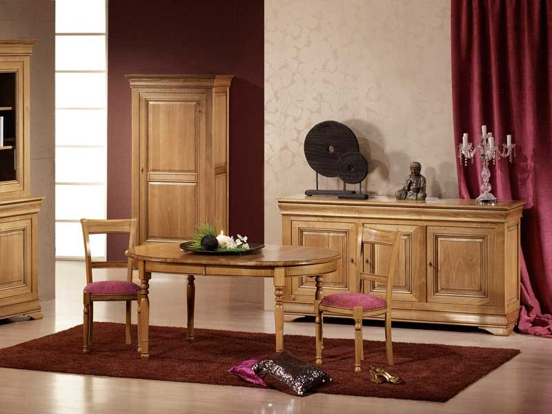 table manger rustique ovale en ch ne massif 4 pieds tourn s meubles bois massif. Black Bedroom Furniture Sets. Home Design Ideas