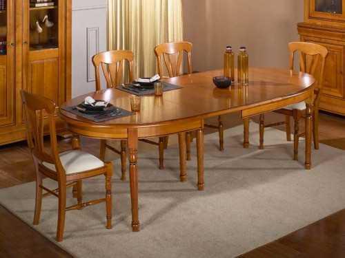 Table manger classique ovale en merisier avec allonges for Salle a manger ovale