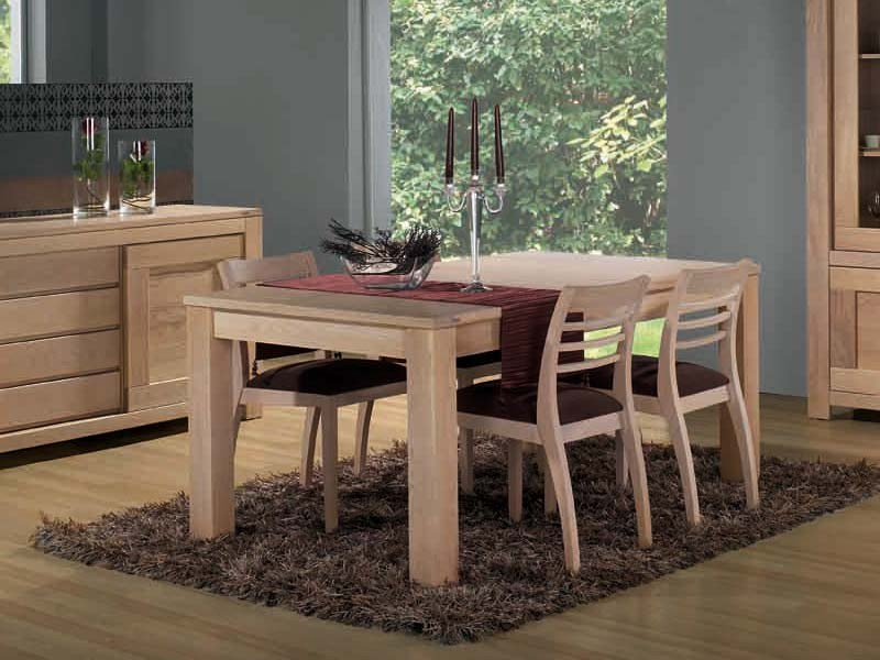Table de repas contemporaine en ch ne massif 2 allonges - Table en chene moderne ...