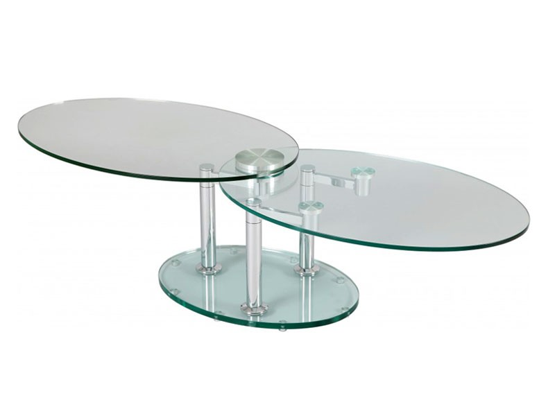Table de salon double plateaux ovales en verre tremp for Table basse en verre trempe