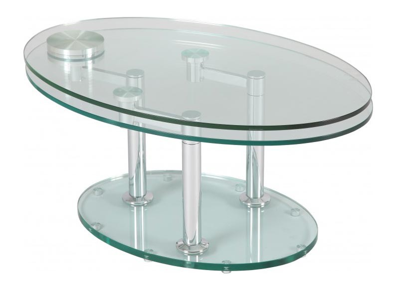 Table de salon double plateaux ovales en verre tremp pivotants sur socle en - Table salon verre trempe ...