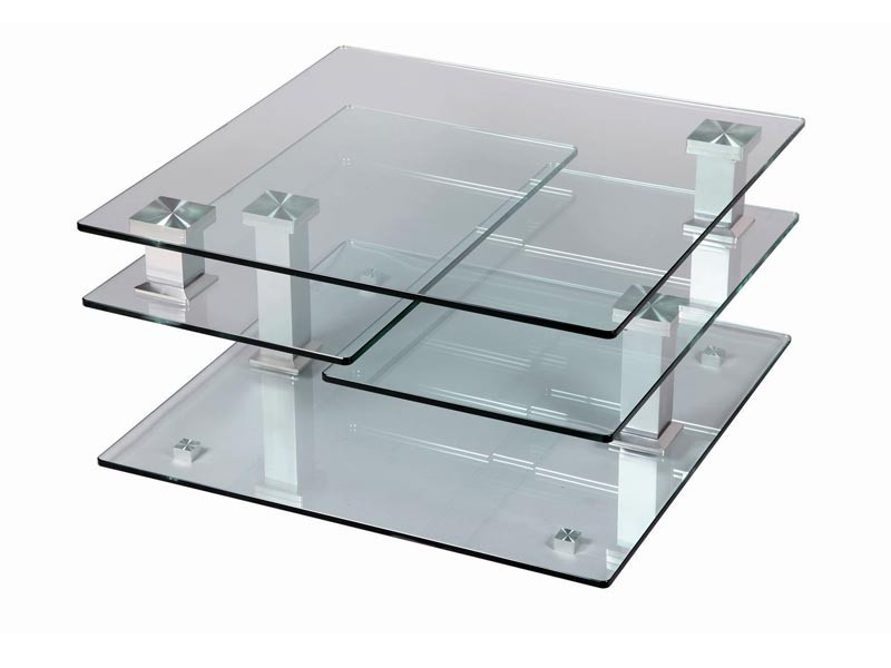 Table de salon carr e 4 plateaux en verre tremp pivotants structure en acie - Table salon verre trempe ...