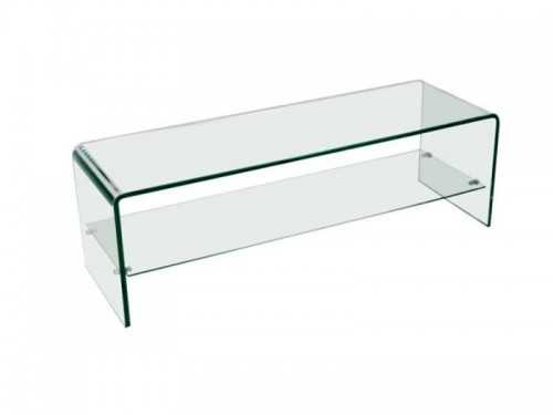 Banc tv en verre tremp transparent avec 1 tag re for Meuble tv en verre