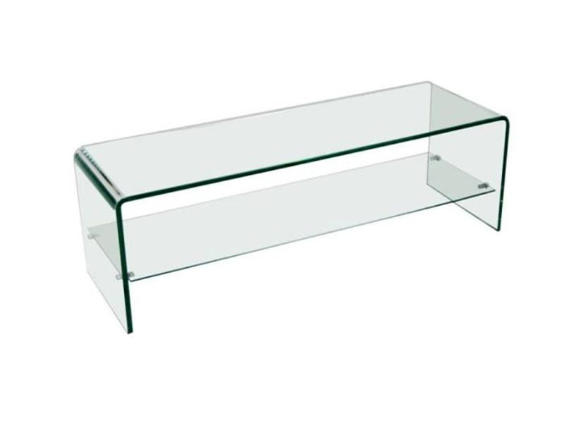 Banc tv en verre tremp transparent avec 1 tag re for Meuble de tv en verre