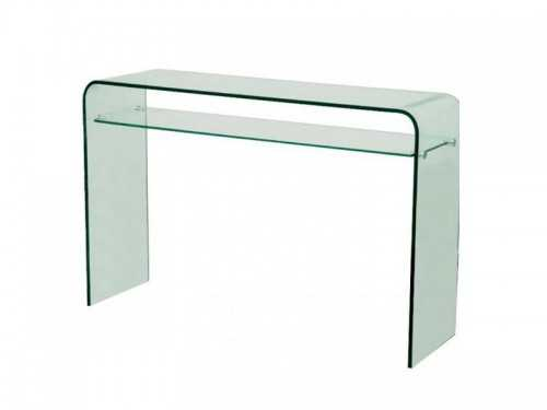 console moderne en verre transparent avec 1 tag re meubles bois massif. Black Bedroom Furniture Sets. Home Design Ideas