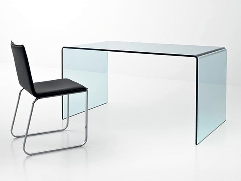 Bureau design en verre courb transparent d 39 un seul tenant meubles bois massif for Bureau en verre design