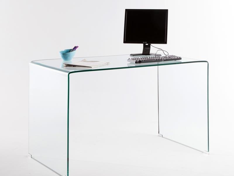 Bureau Design En Verre Courbe Transparent D Un Seul Tenant