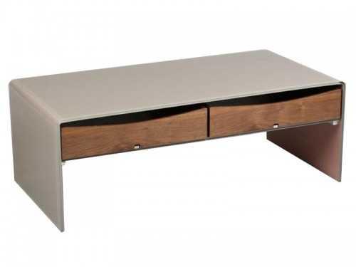 Table basse avec plateau en verre laqu taupe et 2 tiroirs en bois meubles - Table basse 2 plateaux ...