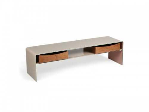 meuble tv moderne avec plateau en verre laqu taupe 2 tiroirs en bois et 1 niche meubles bois. Black Bedroom Furniture Sets. Home Design Ideas