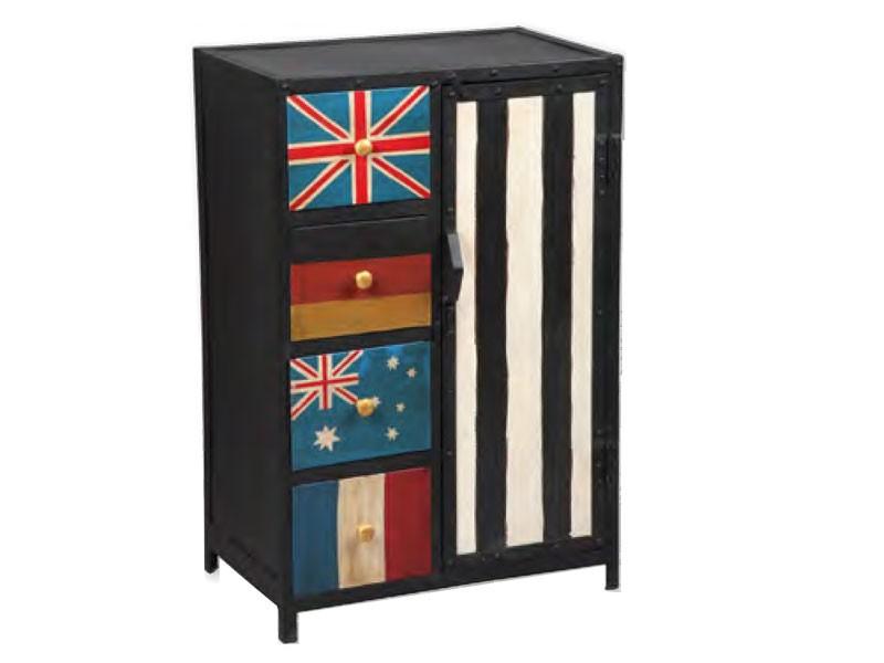 casier vintage meuble de rangement 4 tiroirs et 1 porte meubles bois massif. Black Bedroom Furniture Sets. Home Design Ideas