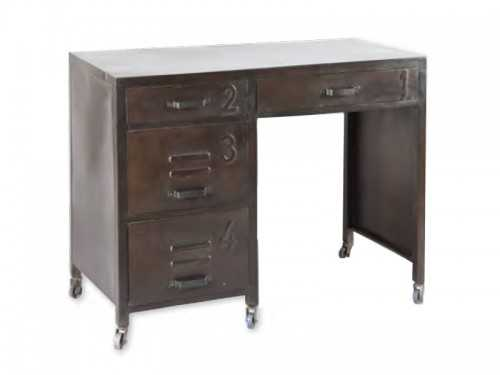 bureau vintage en acier brut teinte vieillie sur. Black Bedroom Furniture Sets. Home Design Ideas