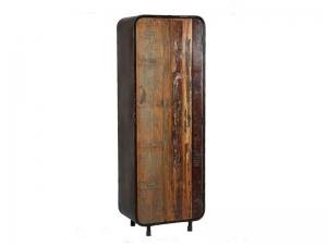 armoire de rangement vintage en acier 1 porte en bois massif meubles bois massif. Black Bedroom Furniture Sets. Home Design Ideas
