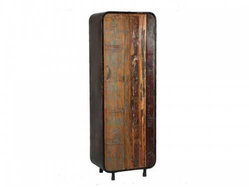 armoire de rangement vintage en acier 1 porte en bois. Black Bedroom Furniture Sets. Home Design Ideas