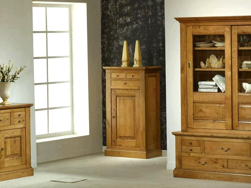 bonneti re rustique honfleur 1 porte et 3 tiroirs en ch ne meubles bois massif. Black Bedroom Furniture Sets. Home Design Ideas