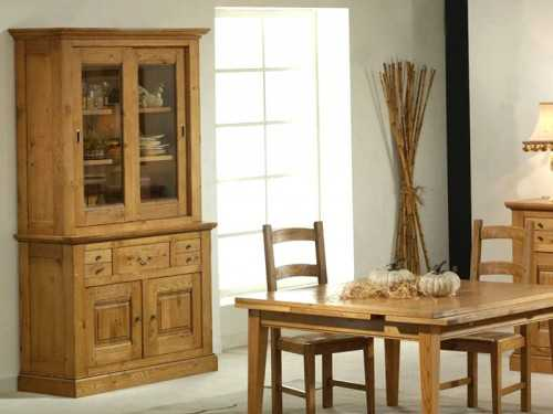 vaisselier rustique en ch ne massif honorine sur socle meubles bois massif. Black Bedroom Furniture Sets. Home Design Ideas