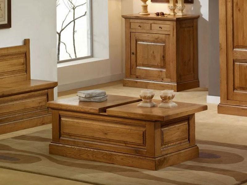 Table basse bar avec coffrage honfleur en chene massif for Table basse vieux bois
