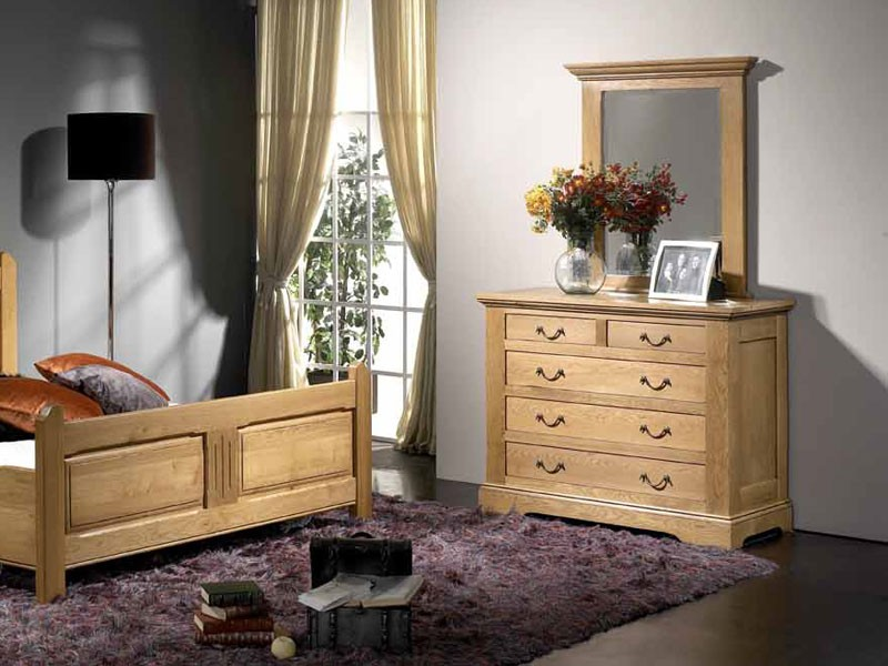 commode rustique honfleur en ch ne massif 5 tiroirs meubles bois massif. Black Bedroom Furniture Sets. Home Design Ideas