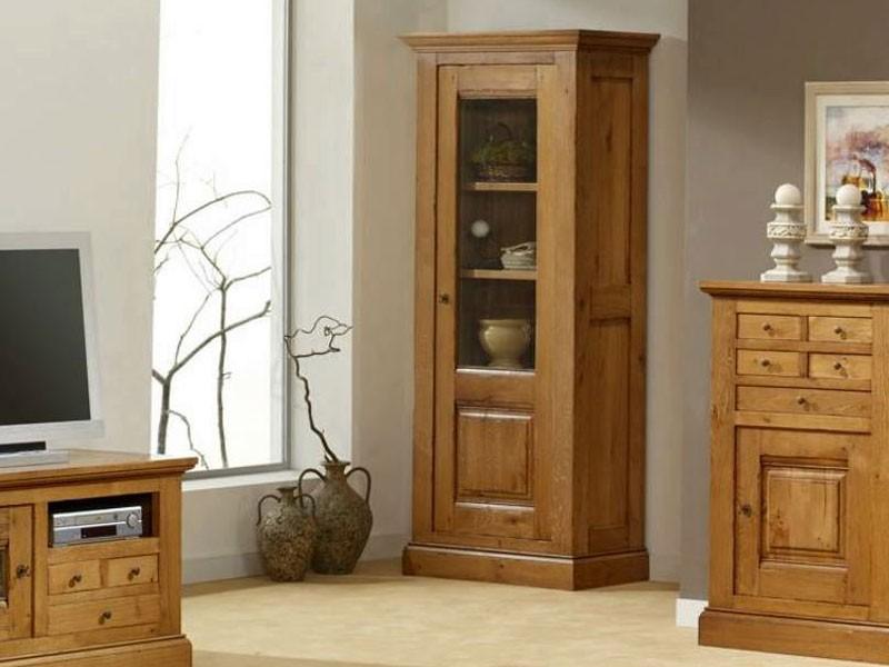 Vitrine rustique honfleur en ch ne massif 1 ou 2 portes for Meuble vitrine une porte
