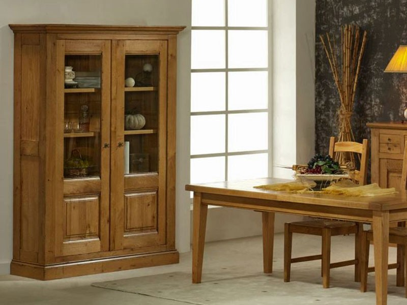 vitrine rustique honfleur en ch ne massif 1 ou 2 portes vit es meubles bois massif. Black Bedroom Furniture Sets. Home Design Ideas