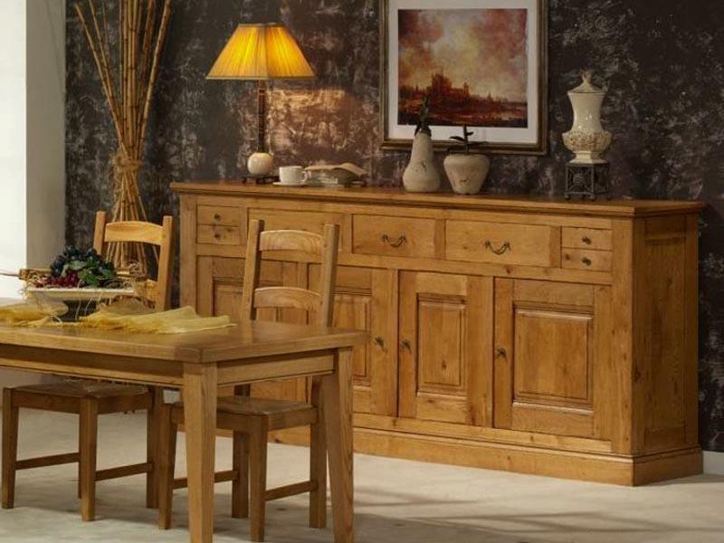 buffet rustique honorine 3 portes et 4 tiroirs en ch ne meubles bois massif. Black Bedroom Furniture Sets. Home Design Ideas