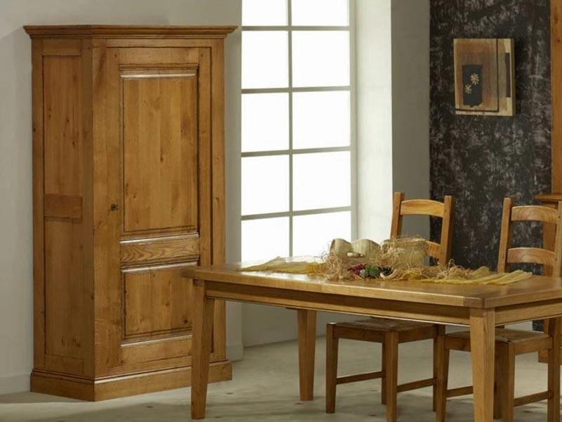 bonneti re rustique en ch ne massif honfleur 1 porte avec tag res meubles bois massif. Black Bedroom Furniture Sets. Home Design Ideas