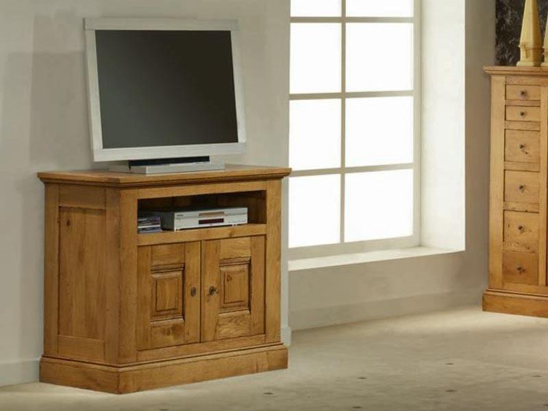 Meuble tv rustique honfleur en chene massif 2 portes 1 niche meubles bois - Meuble tv rustique chene ...