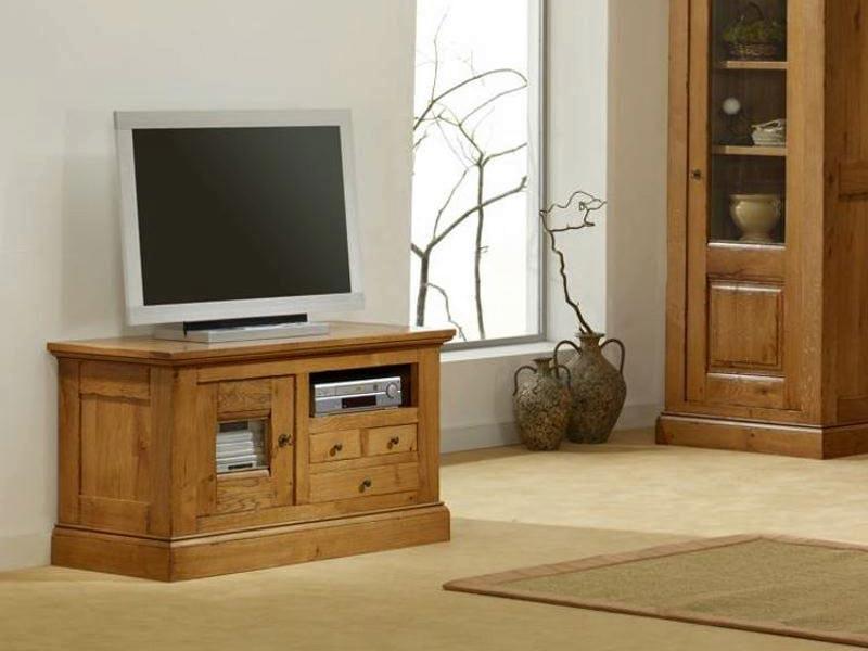 Meuble tv bas en ch ne massif honfleur 1 porte vitr e 3 - Meuble tv en chene massif clair ...