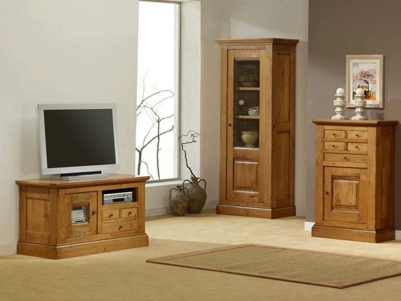 Meuble tv bas en ch ne massif honfleur 1 porte vitr e 3 tiroirs et 1 niche - Meuble bas chene massif ...