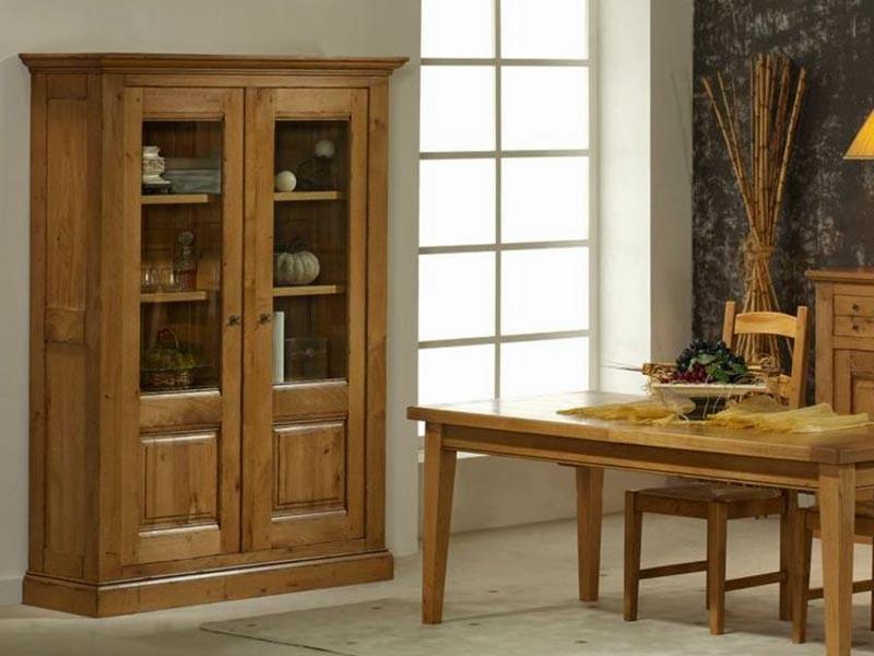 Vitrine en chêne massif Honfleur, 2 portes, 3 étagères en