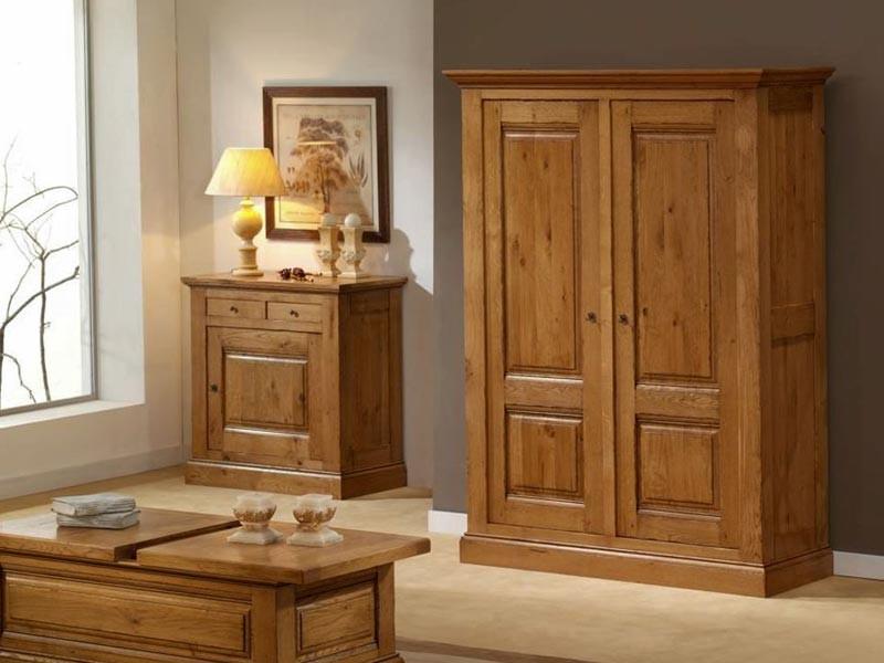 armoire honorine en ch ne massif 2 portes avec tag res en. Black Bedroom Furniture Sets. Home Design Ideas