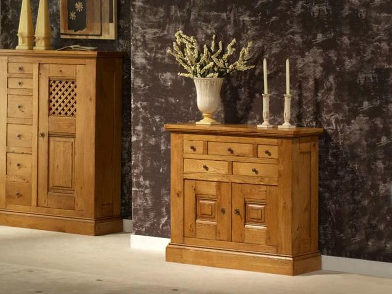 meuble d 39 entr e rustique en ch ne massif honfleur 2 portes 5 tiroirs meubles bois massif. Black Bedroom Furniture Sets. Home Design Ideas