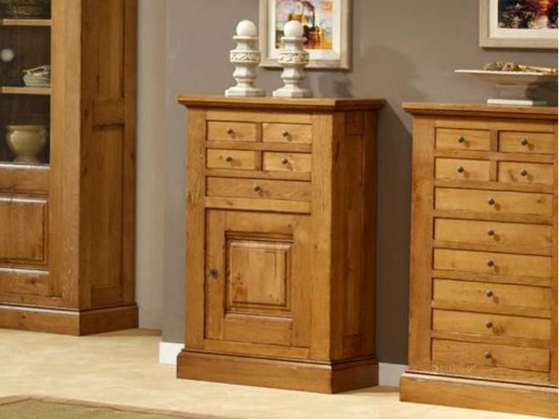 meuble d 39 entr e rustique honorine en ch ne 1 porte et 5 tiroirs meubles bois massif. Black Bedroom Furniture Sets. Home Design Ideas