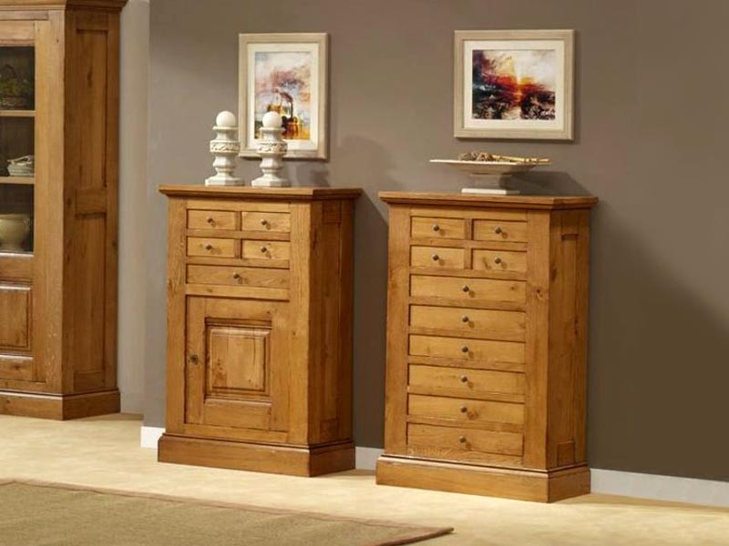 Meuble d 39 entr e honfleur en chene massif 10 tiroirs meubles bois massif - Meuble entree bois ...