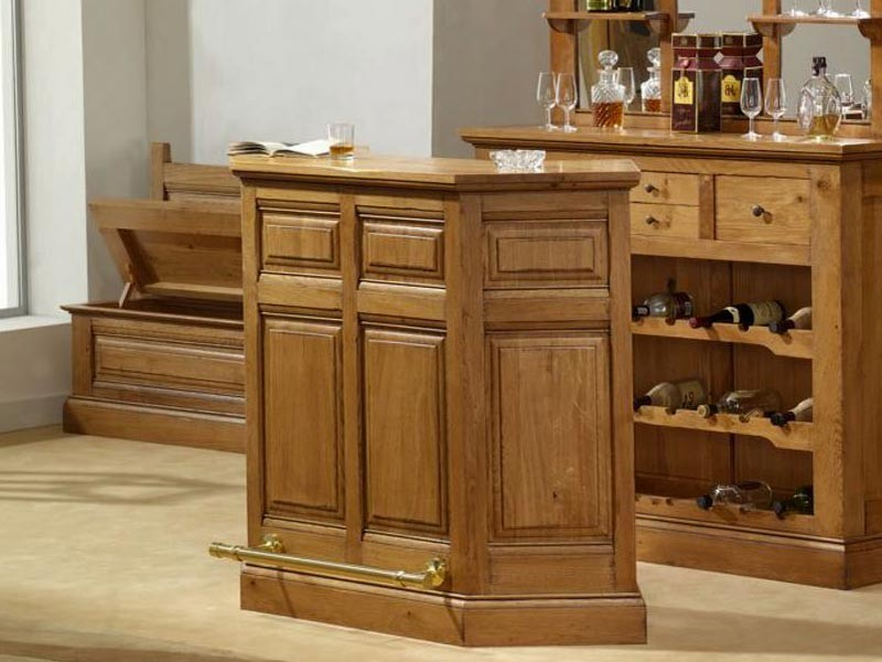 bar rustique honorine en ch ne massif avec repose pied en laiton meubles bois massif. Black Bedroom Furniture Sets. Home Design Ideas