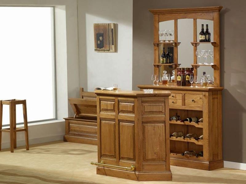 arriere de bar rustique honfleur avec meuble bouteille et haut de bar miroir meubles bois massif. Black Bedroom Furniture Sets. Home Design Ideas