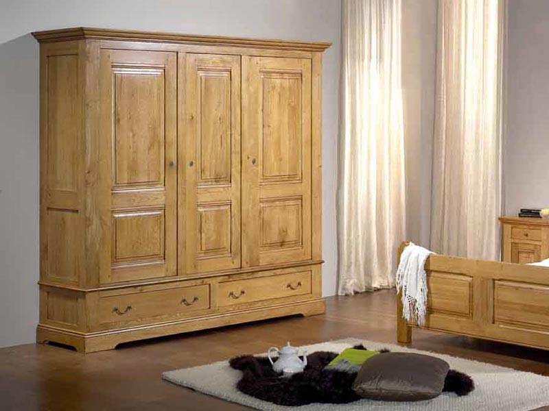 armoire rustique honorine en ch ne 3 portes 2 tiroirs avec penderie et tag res meubles bois. Black Bedroom Furniture Sets. Home Design Ideas