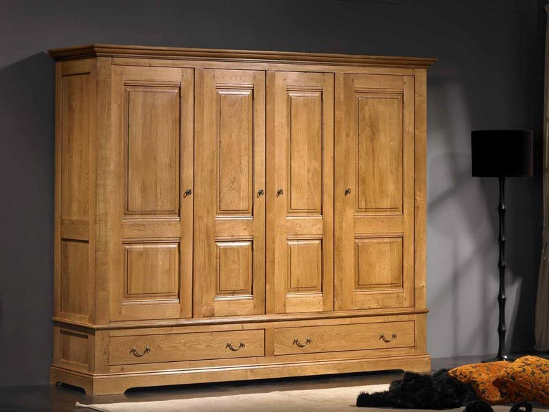 armoire rustique honorine 4 portes en ch ne 2 tiroirs. Black Bedroom Furniture Sets. Home Design Ideas