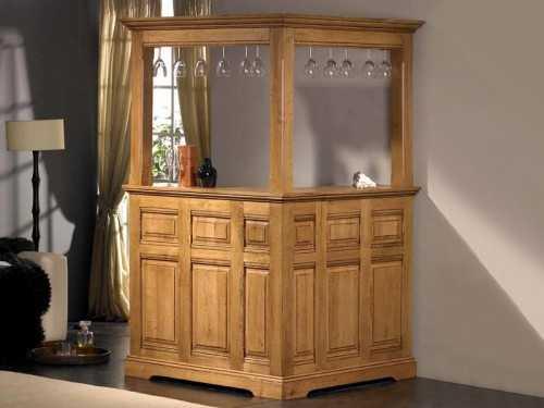 Bar d 39 angle rustique honfleur en ch ne massif avec haut de bar meubles - Bar d angle pour salon ...