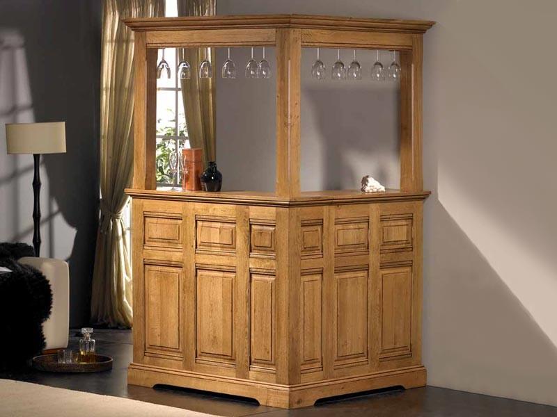 Bar d 39 angle rustique honfleur en ch ne massif avec haut for Meuble bar bois massif