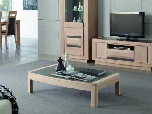 Table basse marine plateau tonneau c ramique meubles bois massif - Table salon dessus ceramique ...