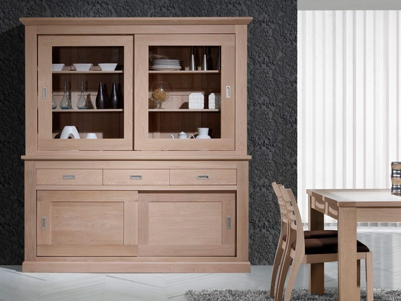 vaisselier contemporain en ch ne collection crete meubles bois massif. Black Bedroom Furniture Sets. Home Design Ideas
