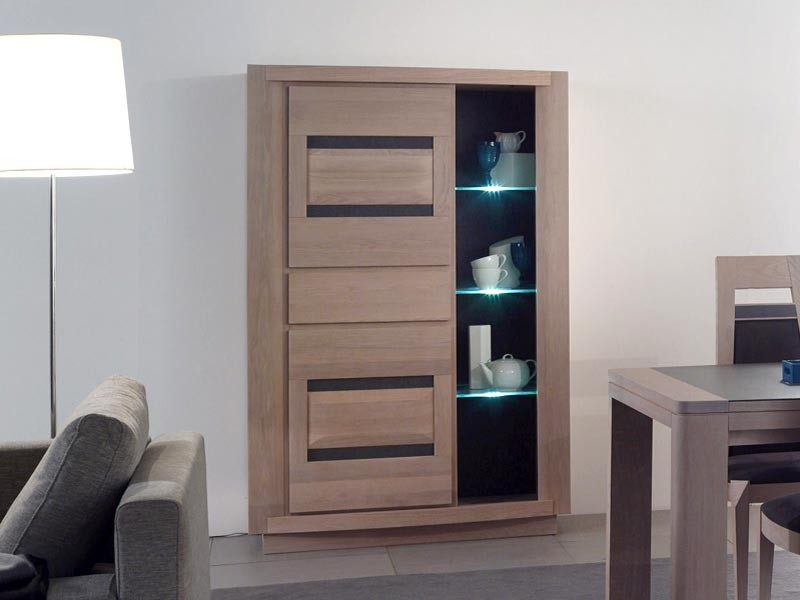 vitrine moderne marina chene et ceramique meubles bois massif. Black Bedroom Furniture Sets. Home Design Ideas