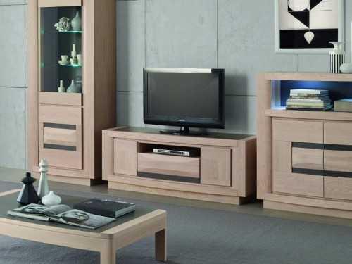 Meuble tv marina en ch ne avec niche large 1 ou 3 tiroirs for Meuble tv large