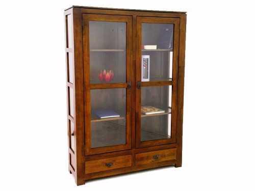 vitrine holly en bois de ch taignier 2 portes 2 tiroirs meubles bois massif. Black Bedroom Furniture Sets. Home Design Ideas