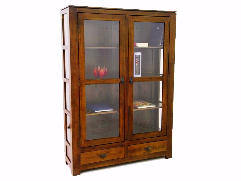 vitrine holly en bois de ch taignier 2 portes 2 tiroirs meubles bois massif. Black Bedroom Furniture Sets. Home Design Ideas