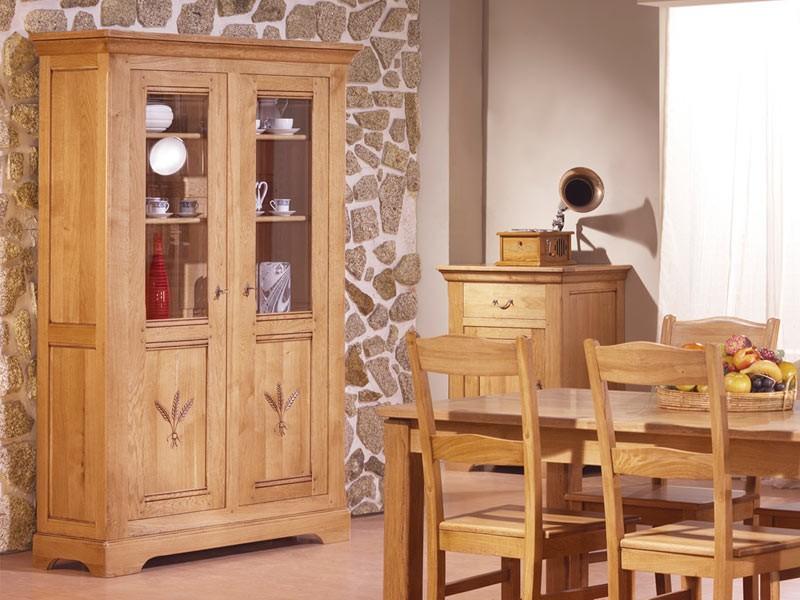 vitrine rustique en ch ne massif silver 2 portes vitr es avec tag res en verre meubles bois. Black Bedroom Furniture Sets. Home Design Ideas