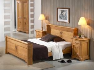 Cadre de lit en ch ne massif silver avec tete de lit for Meuble chambre a coucher bois massif