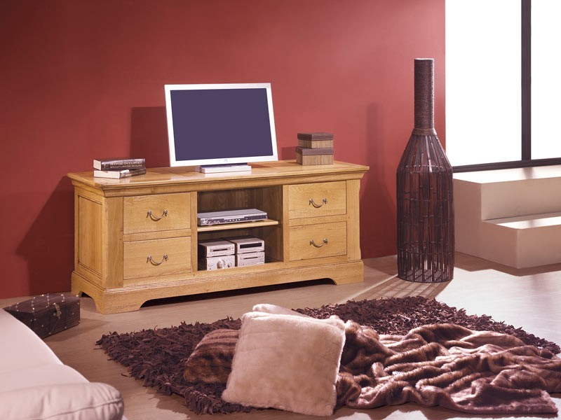 meuble tv rustique en chene massif 4 tiroirs 1 niche avec. Black Bedroom Furniture Sets. Home Design Ideas
