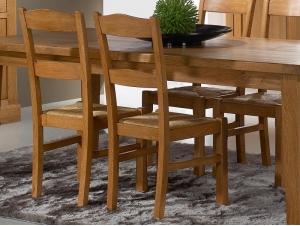 Chaise silver rustique en ch ne dossier lattes et assise en paille meubles bois massif - Chaise rustique bois et paille ...